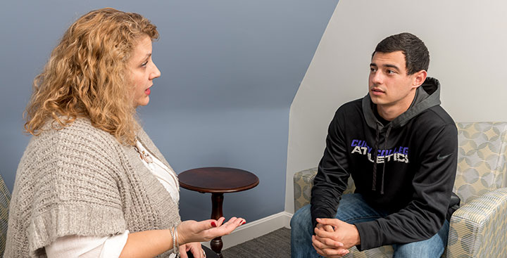 A student receives counseling at the Counseling Center