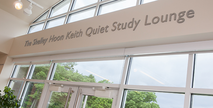 The Shelley Hoon Keith Quiet Study Lounge sign