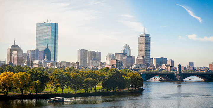 The Boston city skyline